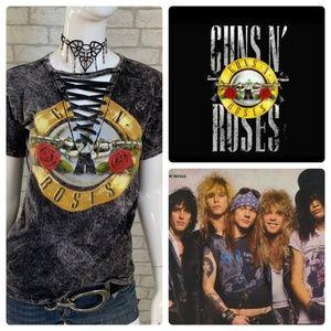 Guns & Roses acid washed black lace up t-shirt - S